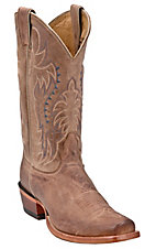 Nocona Men's Tan Brown Vintage Cow Single Welt Punchy Square Toe Western Boots
