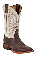 Nocona Men's Vintage Brown Cow with White Double Welt Square Toe Western Boots