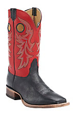 Nocona Men's Black Delta w/ Red Top Double Welt Square Toe Western Boots