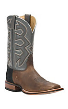 Nocona Let's Rodeo Collection Men's Tan with Grey Top Double Welt Square Toe Western Boots