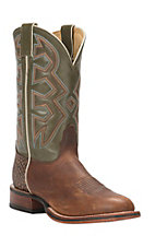 Nocona Let's Rodeo Collection Men's Cognac Brown with Green Top Double Welt Round Toe Western Boots