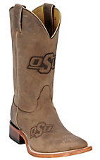Nocona Men's Oklahoma State OSU Distressed Brown Branded Square Toe Boots