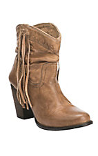 Women's Tan with Side Fringe Scrunched Bootie