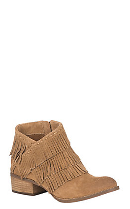 Naughty Monkey Women's Tan Suede Triple Layer Fringe Booties