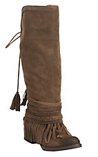 Women's Tan with Fringe Detailing Suede Fashion Boots