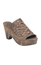 Naughty Monkey Women's Taupe Leather Weave Sandal