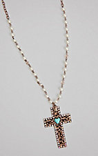 Southern Junkie Bling Leopard Cross W/ a Turquoise Heart Necklace