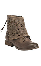 Womens Taupe with Crumbly Crochet Round Toe Bootie