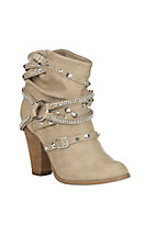 Not Rated Women's Sierra Bling Strap Cream Fashion Booties