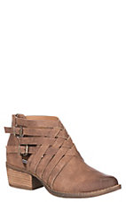 Not Rated Women's Tan Gael Microfiber Multi Straps and Buckles Ankle Bootie