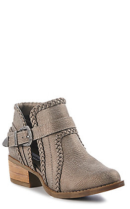 Not Rated Women's Grey Braided Trim Buckle Booties
