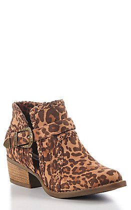 Not Rated Women's Leopard Braided Trim Buckle Booties