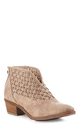 Not Rated Women's Beige Woven V Cut Round Toe Booties