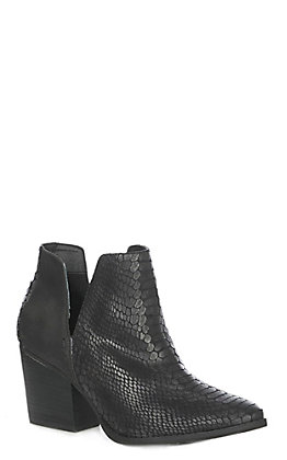 Not Rated Women's Black Faux Leather Snake Embossed Traditional Toe Booties