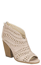 Not Rated Women's Cream Laser Cut Peep Toe Booties