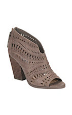Not Rated Women's Taupe Laser Cut Peep Toe Booties