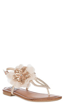 Not Rated Women's Blush Beaded Floral Surya Sandals