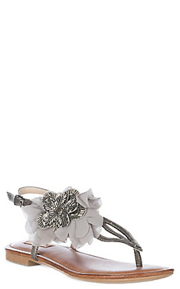 Not Rated Women's Pewter Beaded Floral Surya Sandals