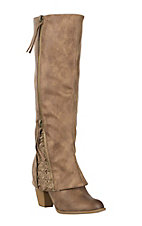 Not Rated Women's Taupe Sassy Girl Tall Zip with Heel Fashion Boots