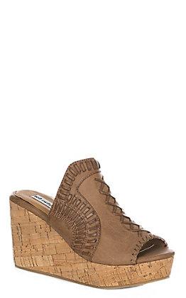 Not Rated Women's Tan Peep Toe Wedge Sandal