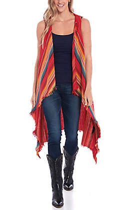 Lucky & Blessed Red Serape Print Vest