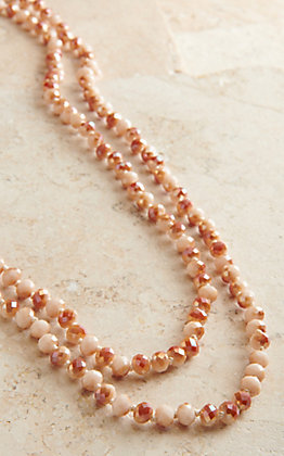 Laminin Oak Grove Pink & Peach Long Beaded Necklace