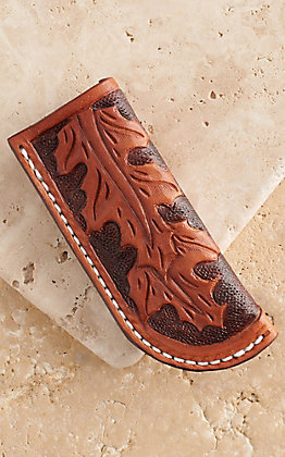 Vik Leather Sheaths Oak Leaf  Oil Tanned Leather Hand Tooled Knife Sheath