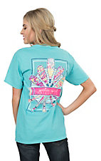 Girlie Girl Originals Women's Scuba Blue Oars Screen Print Short Sleeve T-Shirt