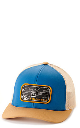 Stackin Bills Blue & Beige Range Logo Patch Snapback Cap