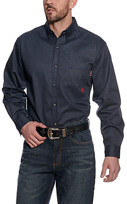 Forge Workwear Men's Grey Diamond Pattern Long Sleeve Shirt