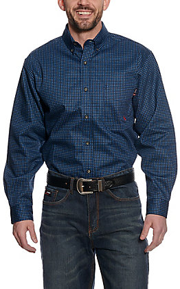 Forge Workwear Men's Blue Medallion Print Long Sleeve Shirt
