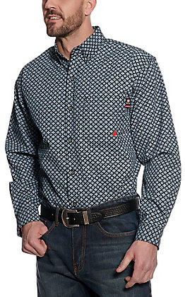 Forge Workwear Men's Navy and Light Blue Medallion Print Long Sleeve Shirt