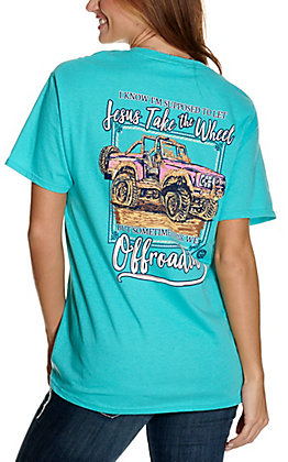 Girlie Girl Originals Women's Turquoise Offroadin' Graphic Short Sleeve T-Shirt