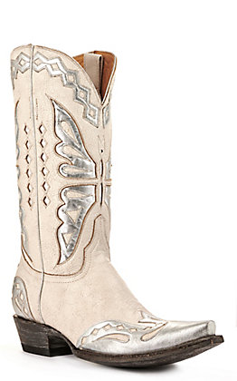 Old Gringo Women's Monarca White Crackle and Silver Snip Toe Western Boot