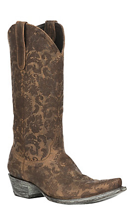 Old Gringo Women's Chocolate Nadia Lazer Cut Floral Pattern Snip Toe Western Boots
