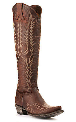 "Old Gringo Women's Mayra Chocolate Brown with Fancy Stitch 18"" Tall Snip Toe Western Boots"