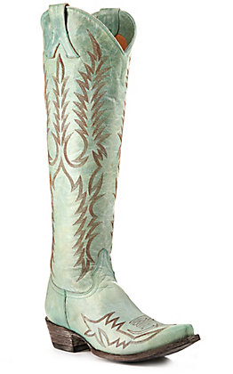 "Old Gringo Women's Mayra Turquoise with Fancy Stitch 18"" Tall Snip Toe Western Boots"