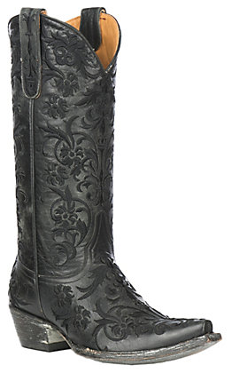 Old Gringo Women's Clarise Black Leather with Black Embroidery Western Snip Toe Boots