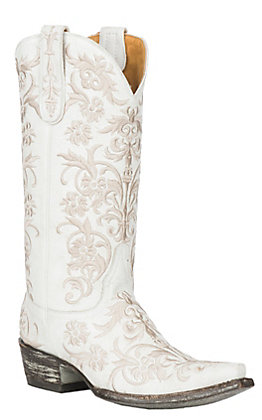 Old Gringo Women's Clarise White Leather with White Embroidery Western Snip Toe Boots