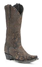 Old Gringo Women's Black Nadia Lazer Cut Floral Pattern Snip Toe Western Boots
