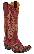 Old Gringo Ladies Nevada Red Distressed Fancy Stitched Snip Toe Western Boots