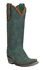 Old Gringo Women's Turquoise & Brown Cassidy Laser Cut Floral Pattern Snip Toe Western Boots