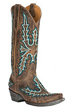 Old Gringo Women's Sharon Brass with Turquoise Heavy Stitch Snip Toe Western Boots