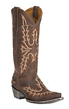 Old Gringo Women's Sharon Brass with Beige Heavy Stitch Snip Toe Western Boots