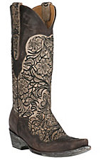 Old Gringo Women's Feita Chocolate with Beige Floral Inlay Snip Toe Western Boots