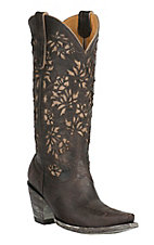 Old Gringo Women's Mary Low Chocolate Goat with Cream Floral Inlay Snip Toe Western Boots