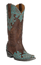 Old Gringo Women's Kloty Brass with Turquoise Floral Overlay Snip Toe Western Boots