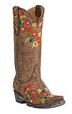Old Gringo Women's Flora Brass with Multicolor Floral Embroidery Snip Toe Western Boots