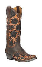 XAN Old Gringo Women's Abelina Brown and Chocolate Hand Tooled Floral Western Snip Toe Boots
