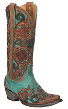 XAN Old Gringo Women's Abelina Turquoise and Brown Hand Tooled Floral Western Snip Toe Boots